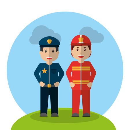 werknemers beroep politieagent en brandweerman staande cartoon vector illustratie Stock Illustratie