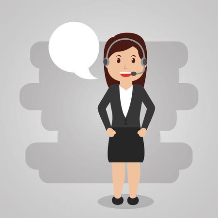 ヘッドセット付き女性労働者コールセンターサービス。スピーチバブルイラスト。  イラスト・ベクター素材