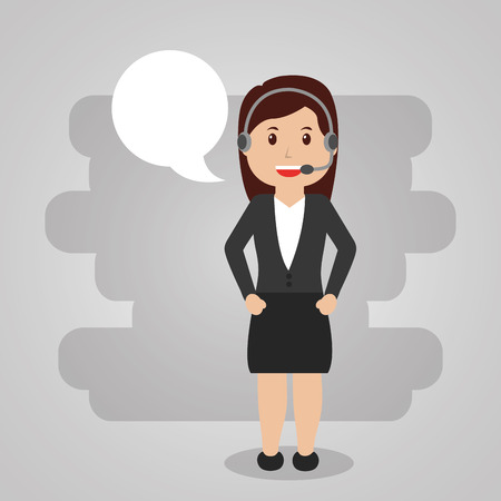 Female worker call center service with headset. Speech bubble illustration. Çizim