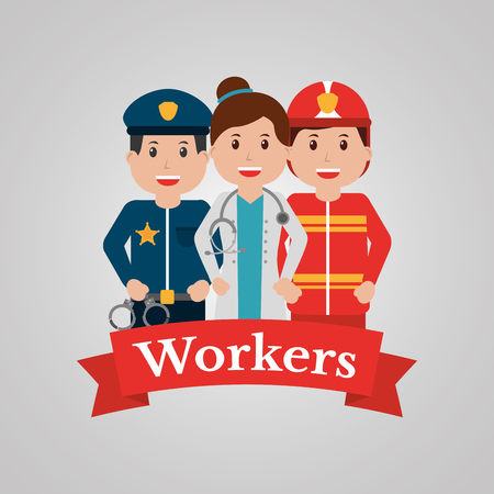 Workers group people, profession employee. Cartoon banner, vector illustration. Vettoriali