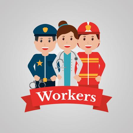 Pessoas do grupo de trabalhadores, empregado de profissão. Bandeira dos desenhos animados, ilustração vetorial. Ilustración de vector