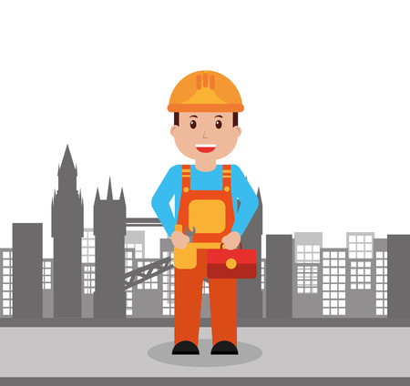 worker construction man holding toolbox city background vector illustration