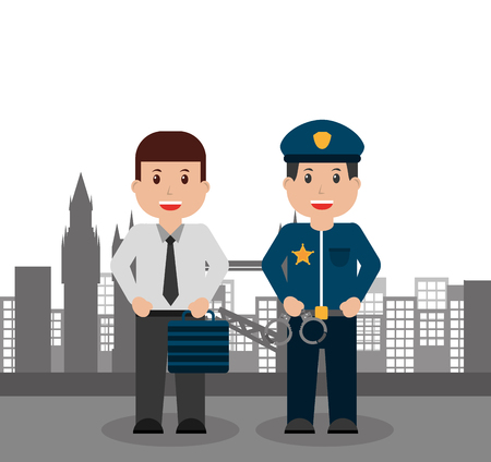 men workers business and police people city background vector illustration