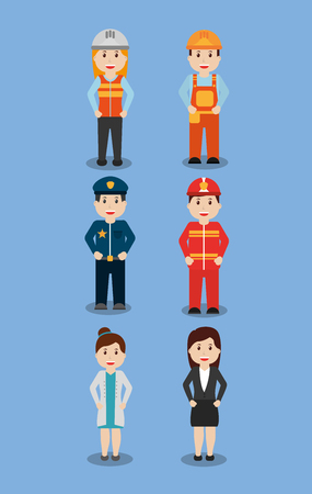Worker icon set on blue background, vector illustration. Vectores