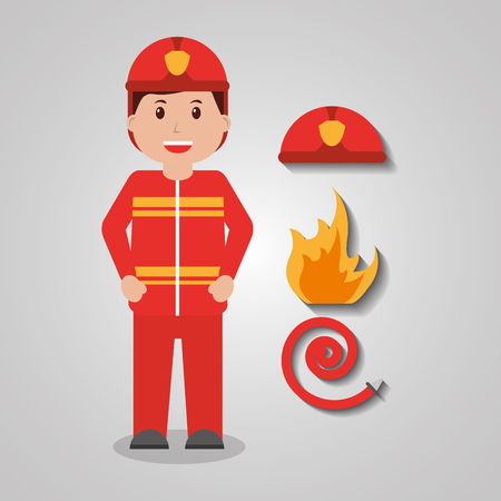 Firefighter worker, protecting equipment standing illustration.