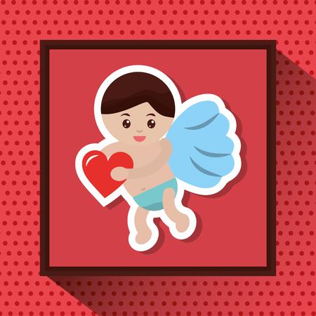 Cupido que guarda a imagem romântica do amor do coração, ilustração do vetor. Foto de archivo - 91366093