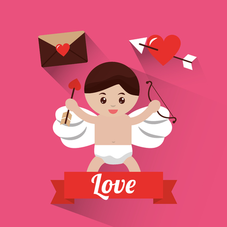 Love cupid holding bow and arrow banner, vector illustration. Illustration
