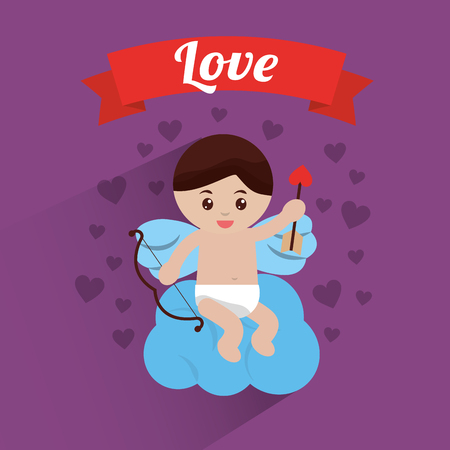 Love cupid sitting in cloud hearts background, vector illustration.