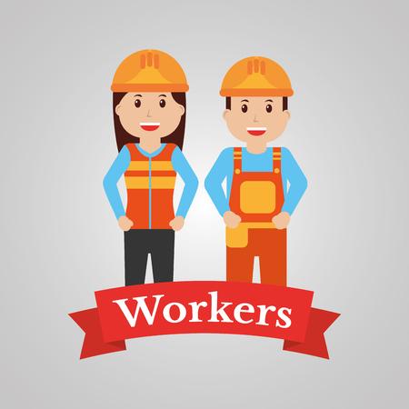 Paare des Bauarbeitercharakters, Vektorillustration. Standard-Bild - 91366099