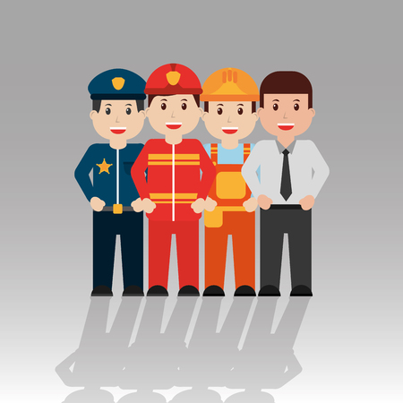 Workers people, group of men occupation set illustration. Ilustracja