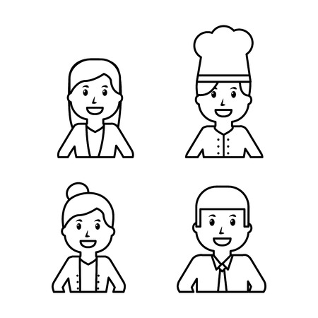 Workers icon set on white background, vector illustration.