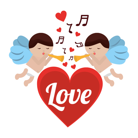 Love cupid heart with trumpet music romance, vector illustration. Ilustração