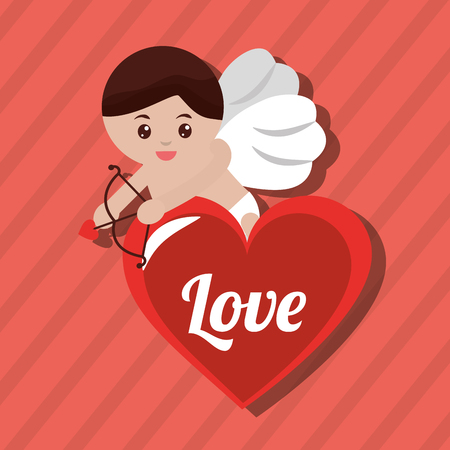 love cupid with red heart lovely poster vector illustration