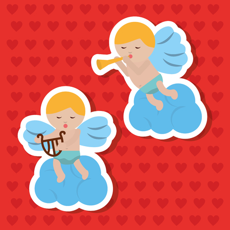 two cupid sitting in clouds making music vector illustration