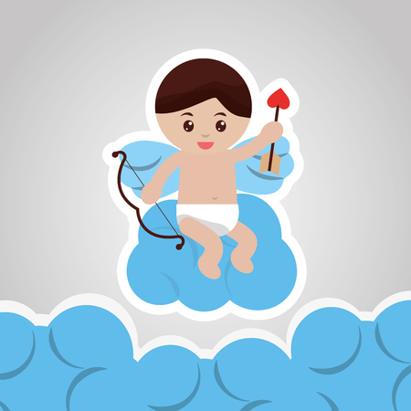 love cupid holidng bow arrow sitting in blue clouds vector illustration