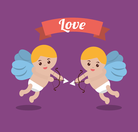 love couple cupid bow arrow banner design vector illustration Illustration