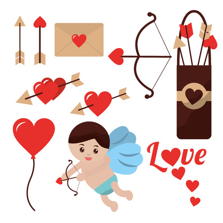 love cupid angel fly bow arrow balloon heart vector illustration Banco de Imagens - 91364534