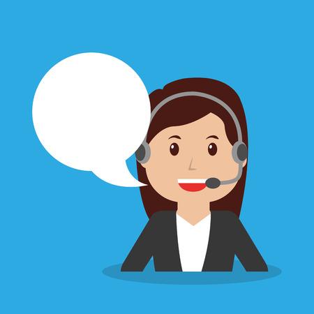 call center operator girl worker with headset speech bubble portrait vector illustration Ilustração