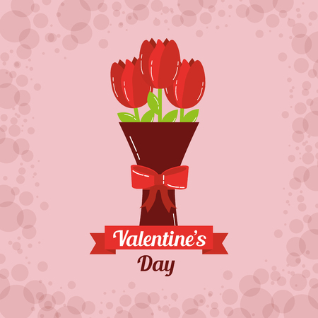 valentines day card bouquet flowers bow decoration vector illustration Illustration