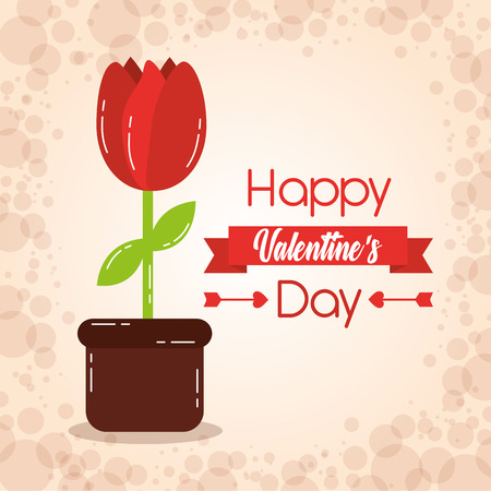 happy valentines day card potted flower decoration celebration vector illustration