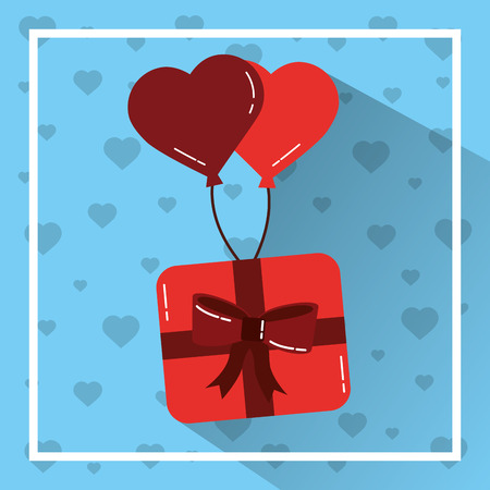 love gift box flying balloons heart romantic vector illustration