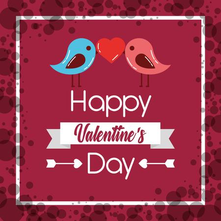 happy valentines day couple birds heart poster vector illustration Illustration