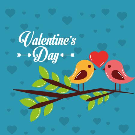 Valentijnsdag kaart paar vogels hart in tak boom vector illustratie