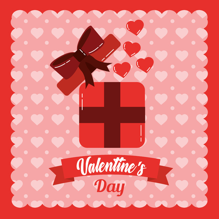 valentines day card open gift box surprise hearts love vector illustration