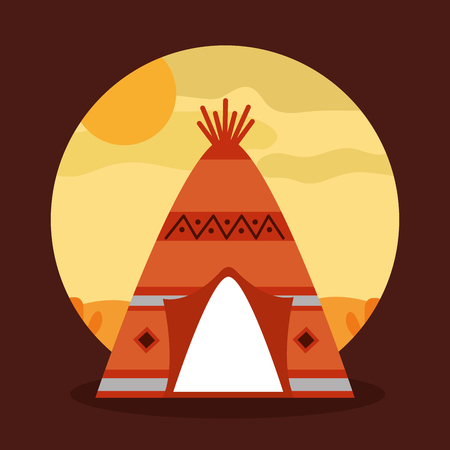 landscape desert with teepee home native american tribal vector illustration Illustration