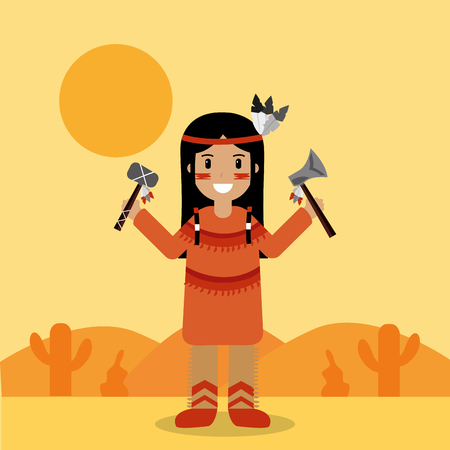 native american indian character holding tomahawk and axe vector illustration