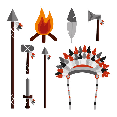 native american weapons tools icons set vector illustration Ilustrace