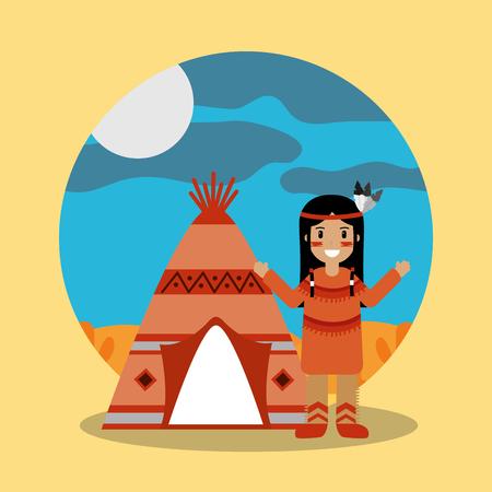 ネイティブアメリカンインディアンキャラクターティーピー風景ベクトルイラスト