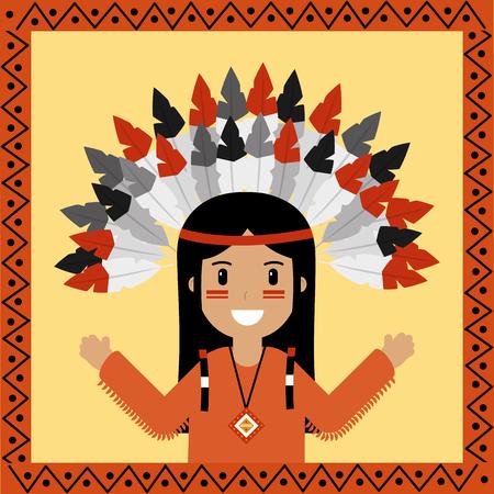 Ilustração em vetor retrato nativo americano personagem indiano Foto de archivo - 91365753