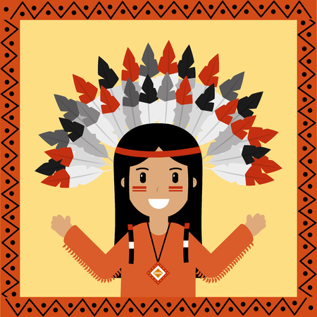 native american indian character portrait vector illustration Иллюстрация