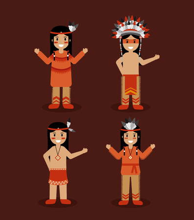 native american indian people with traditional costume vector illustration Ilustração