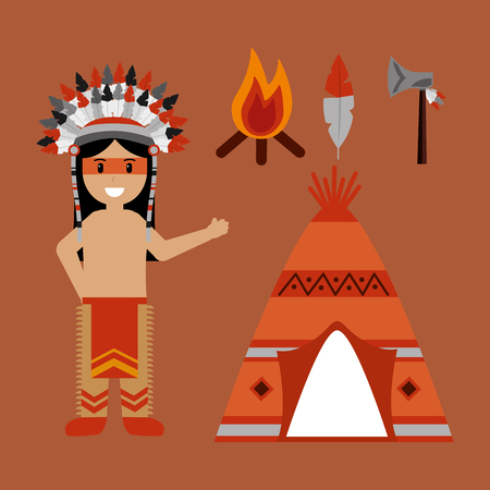 native american indian character teepee axe and bonfire vector illustration
