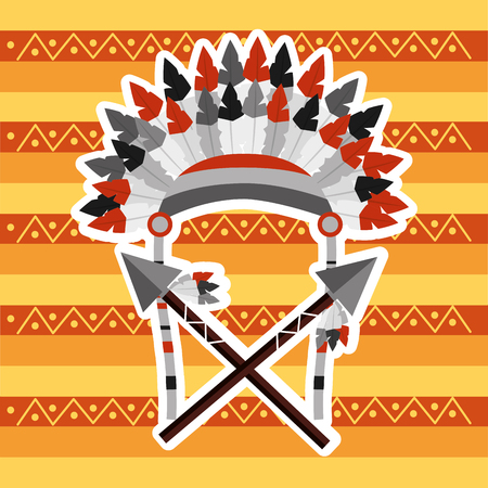headwear feathers with cross spears warrion native american vector illustration
