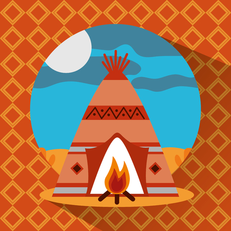 teepee native american with bonfire landscape vector illustration