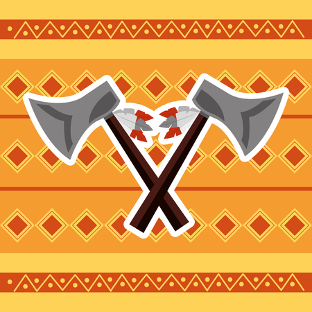 cross axes weapon tool native american vector illustration