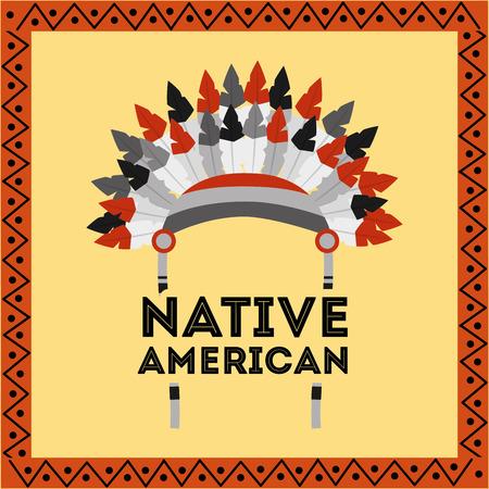 ネイティブアメリカンヘッドウェア羽部族装飾フレームベクトルイラスト