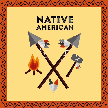 native american weapons tools icons set vector illustration Illustration