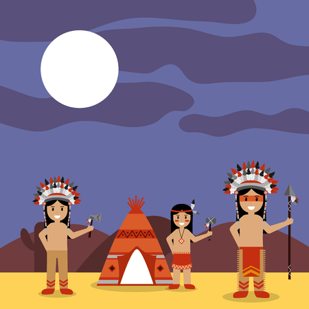 Native American Indians with tepee and night landscape vector illustration Иллюстрация