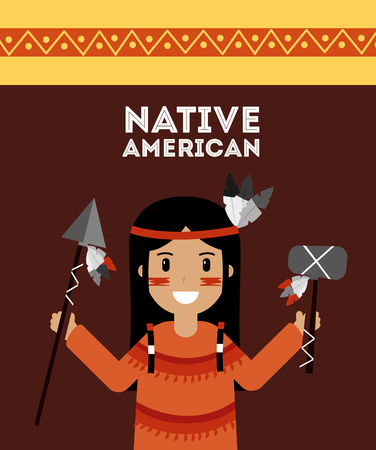 Native American Indian holding spear and tomhawk vector illustration Illustration