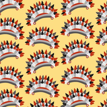 Hoofddeksels inheemse Amerikaan met vectorillustratie van het veren de naadloze patroon Stock Illustratie