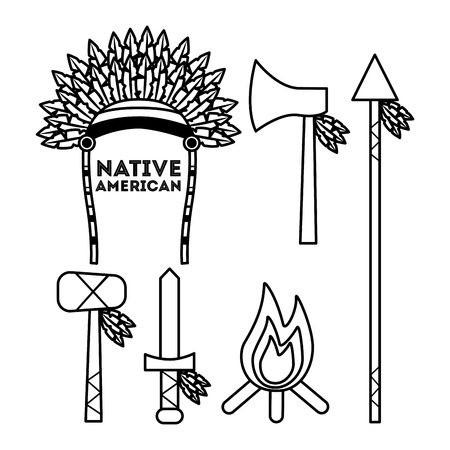 Native american weapons tools icons set outline vector illustration Ilustrace