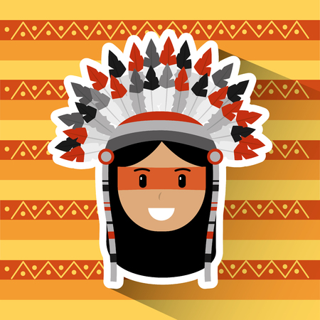 portrait native american indian character tribal ethnic background vector illustration