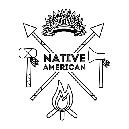 native american weapons tools icons set outline vector illustration