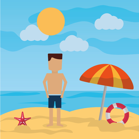 man standing beach with umbrella lifebuoy sea landscape vector illustration Illustration