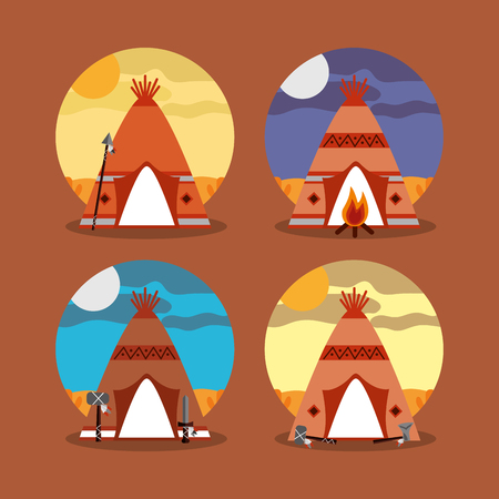 four teepee home native american with landscape difference vector illustration