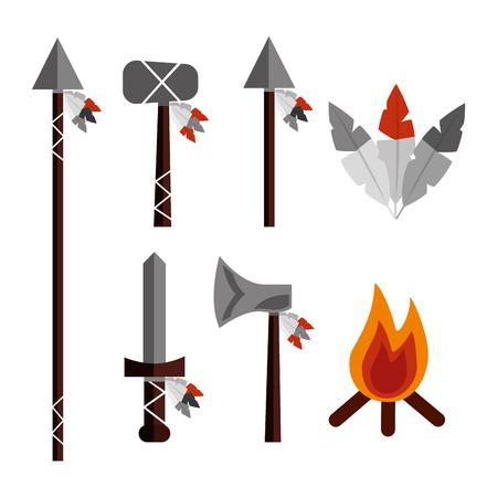 Indiaanse wapens gereedschapspictogrammen instellen vectorillustratie Stock Illustratie